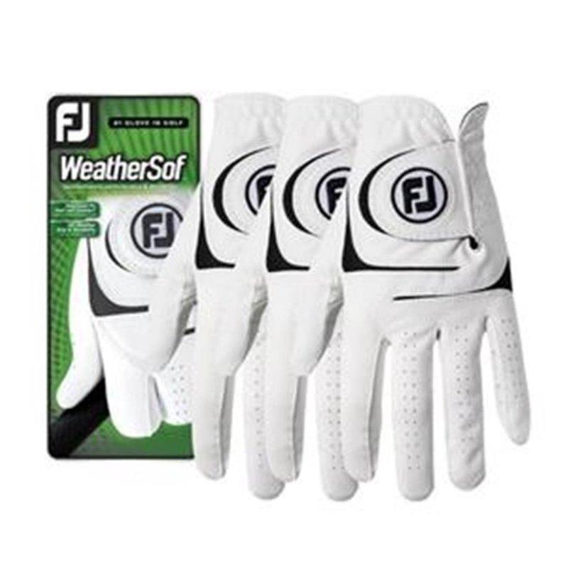 FootJoy WeatherSof 3er-Pack Golf-Handschuhe Herren   RH weiß L