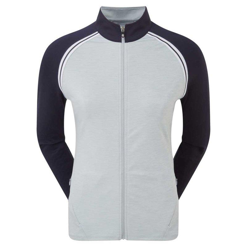 FootJoy French Terry Full Zip Colour Block Sweatshirtjacke Damen L grau-navy-wht