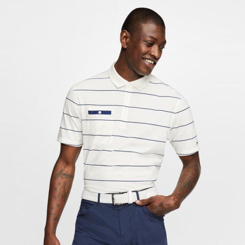 Nike Dry Player Stripe Polo Herren   offwhite-blau XL