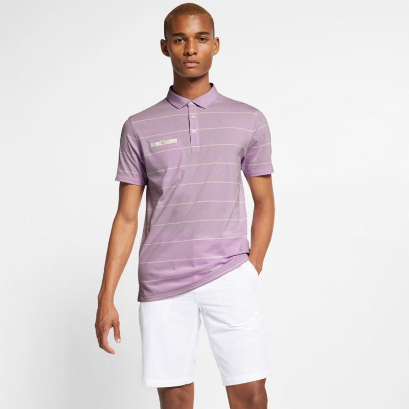 Nike Dry Player Stripe Polo Herren | flieder-offwhite XL