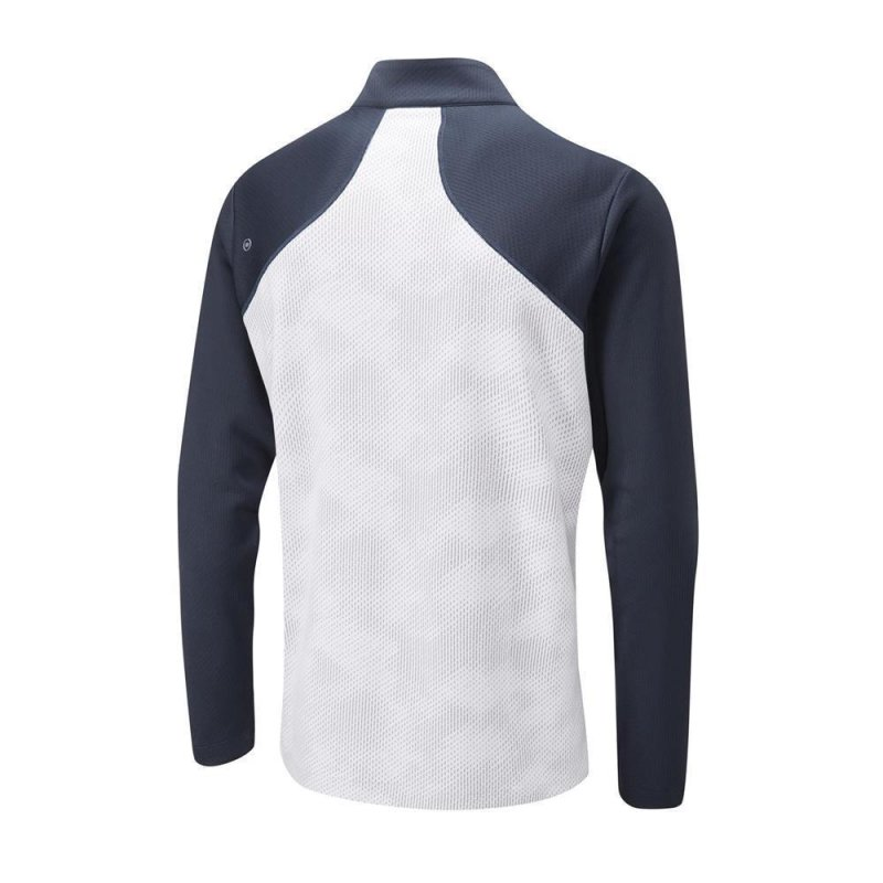 PING Vertical 1/2 Zip Midlayer Herren | white navy L