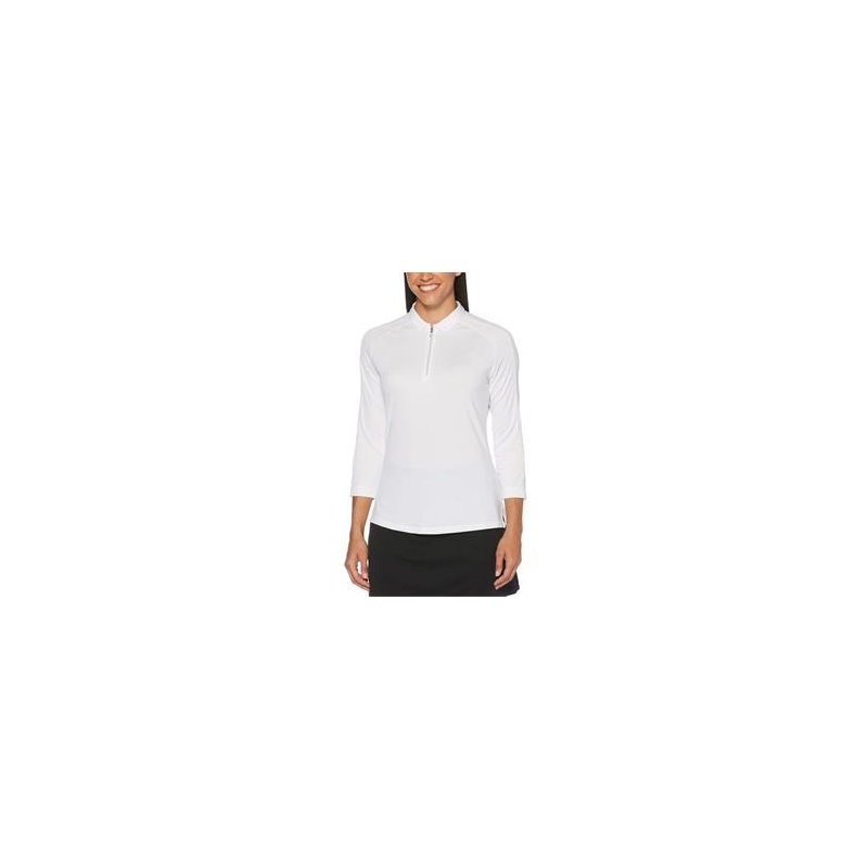 Callaway 3/4 Sleeve Swing Tech Shadow Stripe Polo Damen | brilliant white L