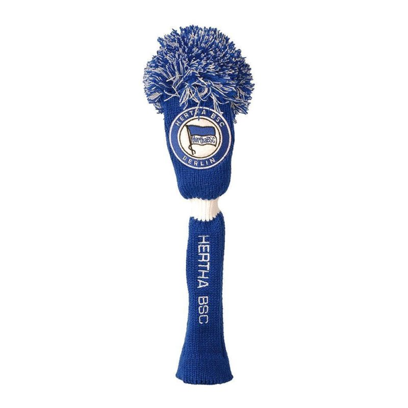 Hertha BSC PomPom Fairwayholz Headcover | weiß-royalblau